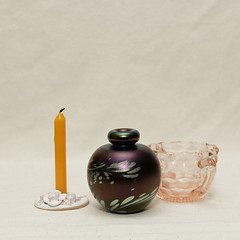 Still Life (N.the.Kudzu) Tags: tabletop stilllife candle perfume bottle cubist glass bowl canon70d canoneflens flash primelens