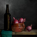 Still Life with Beer and Red Onions (Explored) (Simon Caplan) Tags: stilllife classicstilllife onions redonions bottle beerbottle renaissancestylelighting lightsculpting