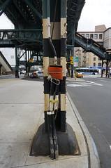 Pole Connection to the Dark Web (Restless Eye) Tags: newyorkcity newyork usa pole bridge rope red weird creepy