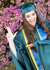 Emily Senior Pics (singing.squid) Tags: cbu college teal school flowers flower graduation cap gown smile