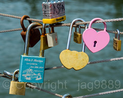 Love Locks on the East River, Brooklyn Bridge Park Pier 1, New York City (jag9889) Tags: 2018 20180608 brooklyn brooklynbridge downtownbrooklyn eastriver fence heart k130 kingscounty landmark lock lovelock ny nyc newyork newyorkcity outdoor river suspensionbridge text usa unitedstates unitedstatesofamerica water waterway jag9889