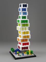 Lego House Skyscraper (aukbricks) Tags: lego moc legomoc architecture legoarchitecture design microscale legomicroscale microbuild legohouse skyscraper billund denmark legodigitaldesigner ldd mecabricks blender render rendering computerrendering