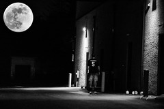 The Night's Best Friend (FischyBizness Photography) Tags: outdoors city night lights alley bw black white moon lunar space astronomy portrait