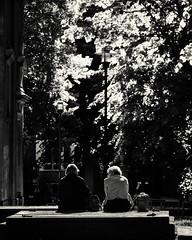 Stockholm, May 31, 2018 (Ulf Bodin) Tags: sitting sverige church klara sweden outdoor grave cemetery talking bw summer tomb canoneosm3 kyrka canonefm55200mmf4563isstm klarakyrka monochrome grav stockholm streetphotography blackandwhite gravplats urbanlife stockholmslän se