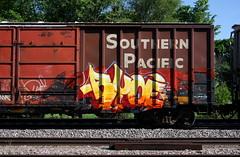 Ryoe (quiet-silence) Tags: graffiti graff freight fr8 train railroad railcar art ryoe cbs aub boxcar sp southernpacific sp247899 villains