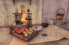 Taste of country (Milla DelRay) Tags: sl secondlife country rural interiors kitchen house farm vintage food wine glass glasses picnicbasket basket picnic fireplace cheese strawbottle bottle salami