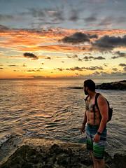 Hawaii Sunset (DGNacho.com) Tags: sunset hawaii travel vacation beach man clouds sun water