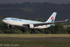 HL8227 Airbus A330-200 Korean Air Glasgow airport EGPF 07.06-18 (rjonsen) Tags: plane airplane aircraft aviation airliner skyteam landing touchdown avgeek