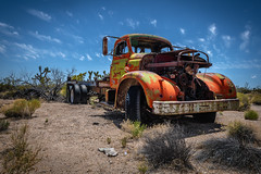 Lanfair Road, Mojave National Preserve, California (paccode) Tags: wreck mojave sand desert truck brush quiet tire california abandoned tires d850 dump forgotten creepy antique colorful nationalpark bushes unitedstates us