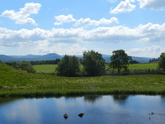 Highland Wildlife Park, Kincraig, May 2018 (allanmaciver) Tags: cairngorm national park highland wildlife scotland kincraig water reflections blue sky trees mountains shade shadows clouds scenery allanmaciver