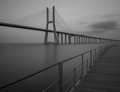 a bit of grey will make your day (Wizard CG) Tags: long exposure bw black white mono fine art photography vasco da gama lisbon portugal architecture bridge sky monochrome lines epl7 water sea