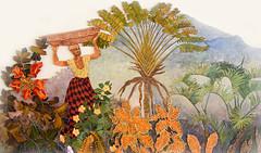 Gathering (Anthony Mark Images) Tags: jamaicanwoman woman lushvegatation mountain art 3d painting foliage ckeckeredskirt basket womanwithabasketonherhead jamaicanart jamaica westindies caribbean mobay montegobay sundaylights folkart