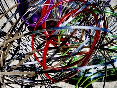 Wired in the Backyard PhotoLab (Robert Cowlishaw (Mertonian)) Tags: distractions wired canon powershot g1x mark iii canonpowershotg1xmarkiii modernlife chaos mertonian colours colors interesting backyardphotolab sidewaysdownlooking shadows concrete cement abstract passions red green purple gray complex reflective silver