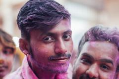 Violet Gulal on Face, Vrindavan India (AdamCohn) Tags: adamcohn india vrindavan celebration colorful colors face gulal holi man men portrait wwwadamcohncom