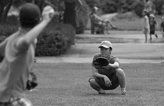 Baseball / Catch, Cantigny Park. 2 (EOS) (Mega-Magpie) Tags: canon eos 60d outdoors cantigny park wheaton dupage il illinois usa america baseball catch guys people person bw black white mono monochrome