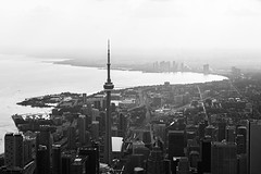Looking Past The Obvious (Michael Muraz) Tags: 2018 bw blackwhite canada northamerica ontario toronto world aerial aerialphotography lake lakeontario monochrome plane skyline ca