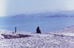 Batumi (Tamar Burduli) Tags: analog film color 35mm landscape nature sea seascape people women nun praying sun mountains mountainscape shore beach water waves spring blacksea batumi travel adjara georgia tamarburduli zenit kodak boat prayer pray