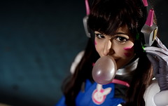 D.Va (skippyclese) Tags: cosplay america 2017 con costume convention cosplayer blizzard overwatch game headset headphones bubble gum blow hair eyes chapel hill nc north carolina nikon d810 sigma art 50mm dva
