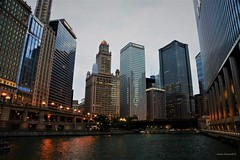 Chicago River at Dusk (Anton Shomali - Thank you for over 1 million views) Tags: chicagoriver chicago wackerdrive michiganavenue buildings building tallbuildings tall tll skyscraper skyline boatride trumptower trump illinois bigcity downtownchicago river dusk chicagoriveratdusk michigan michiganave sony slta77v town city riverwalk downtown center afternoon evening light lights streets bridge boat boats water