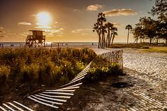 Coquina Beach Sunset and Lifeguard Tower (Cracked_Lens) Tags: beach islandbeach floridabeach floridanature florida sunset floridasunset naturallight sand whitesand