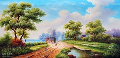 Bucolic Paysage, Art Painting / Oil Painting For Sale - Arteet™ (arteetgallery) Tags: arteet oil paintings canvas art artwork fine arts landscape sky tree summer clouds water grass trees scenery travel lake season scenic outdoor meadow spring natural outdoors sunny autumn mountain rural cloud scene tourism field stone environment reflection horizon mountains plant rock land countryside tranquil pond country hill landscapes pastorals fields lime cyan paint