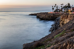 Sunset Cliffs with Light Trail from Long Exposure (Photos By Clark) Tags: location california northamerica canon2470 canon5div unitedstates sandiego cities locale places where us longexposure lights cartrails water pacific waves rocks cliffs palm thesandiegoist