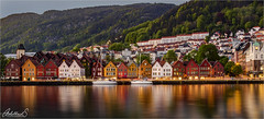 Bergen evening, Norway (AdelheidS Photography) Tags: adelheidsphotography adelheidsmitt adelheidspictures norway norge noorwegen norwegen noruega norvegia nordic norvege norden bergen evening reflection lights unescoworldheritage unesco bryggen wharfe colour restoration scaffolding