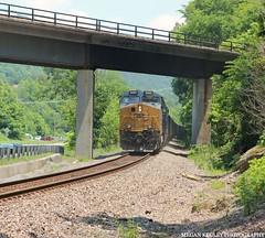 KT25 Pushers (Railroad Gal) Tags: railfan railroad csx et44ah tier4locomotive locomotive generalelectric csx3455 appalachianmountains appalachian virginia norfolksouthern railfanning coaltrain trees bridge trestle sunshine outdoors