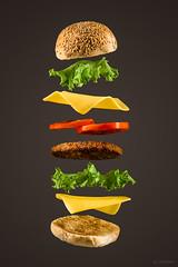 Flying Burger (LRFarias) Tags: canon60d burger ingredients food still strobist flash gourmet cheese lettuce bread advertising efs1755f28is
