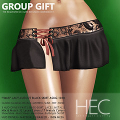 HEC (GROUP GIFT) • HEIDI Lacy-Cutout BLACK Skirt GIFT ASUG-101B (hec-fashion) Tags: hotelegantclothing hot elegant clothing mesh fitmesh fashion sl secondlife lace leather transparent sheer see through seethrough belleza maitreya slink tmp tonic project themeshproject bottom gift