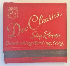 DOC CLEARIES SKY ROOM REDDING CALIF (ussiwojima) Tags: doccleariesskyroom bar cocktail lounge restaurant redding california advertising matchbook matchcover
