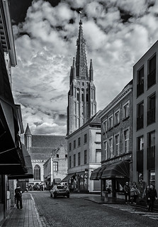 Church of Our Lady ( Bruges) (BW) (Fujifilm X70 Trans-X Compact with 28mm f2.8 Prime Lens)