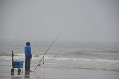 Mist aan de kust (Mary Berkhout) Tags: maryberkhout kust strand zand scheveningen mist zee visser hengel blauw angler