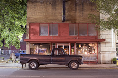 Tower Avenue (Curtis Gregory Perry) Tags: centralia washington ford truck pickup 1973 1975 1974 1976 night long exposure building tower avenue street road nikon d810 old vehicle tree brick architecture car antique store shop shopping landlord daughter black