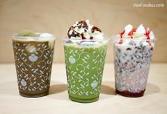Hoji-cha Shiratama Float, Matcha Chocolate Latte, Azuki Strawberry Latte (VanFoodies) Tags: nanasgreenteacanada matcha greentea shiratama hojicha tea dessert japanese