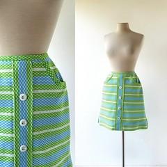 1970s mod striped skirt/skort, from Haymaker (Small Earth Vintage) Tags: smallearthvintage vintagefashion vintageclothing skirt skort 1970s 70s striped blue green mod haymaker golfskirt