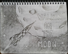 walking on the moon-small (klaxodessin) Tags: dessin dessinnoiretblanc drawing bw sketch croquis crayon crayondepapier pencil lune moon fusée spacerocket rocket