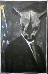 Drama: Eugene Ionesco, Rhinoceros. (ArneKaiser) Tags: 8thgrade edited waldorfjourney chalk chalkboard chalkdrawings