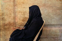 Woman dressed with chador at the Friday mosque, Isfahan, Iran (Elena14u2012) Tags: friday mosque prayer isfahan iran people religion chador