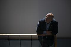 Jesper Nygaard (' A r t ') Tags: winner ceo low light window bald dark realdania staircase brøndy boardmember manager man beard glasses
