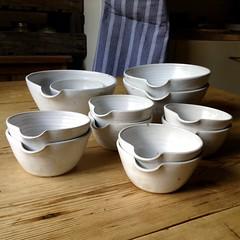 Pouring Bowls (Jude Allman) Tags: stoneware jude allman pottery pots pot bowl bowls white kitchen