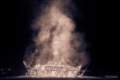 The burn of the temple (fried oreo cookie) Tags: fire filter architecture magnificent exciting thrill night scary culture ceremony big giant dark clear sparks smoke art artisitic goodbye light impressive midburn burningman burn burning israel desert artistic splittone