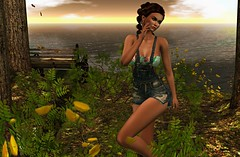 Sunset (kare Karas) Tags: woman lady femme girl girly sweet pretty cute sensual seduce sunset virtual avatar secondlife outdoors nature june spring mesh bento colors hud skirt overall top earrings game fun soul calm kendrasycreations elleboutique