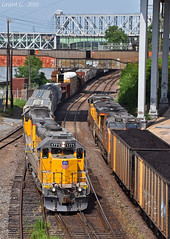 "UP Trains in Kansas City, MO (""Righteous"" Grant G.) Tags: up union pacific railroad railway locomotive train trains emd power ge meet coal load transfer freight yard job west east kansas city missouri"
