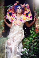 "TEATRONATURA ""The Lady of the melancholic garden"" (valeriafoglia) Tags: lights light lady model makeup magic melancholy garden creative composition capture colors creature colour nature outfit stylist style beautiful beauty fantasy fairy flowers art atmosphere dark dress d"