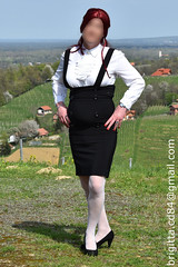 White blouse with detachable jabot, black suspender skirt (brigitta.cd) Tags: secretary crossdresser sissy jabot