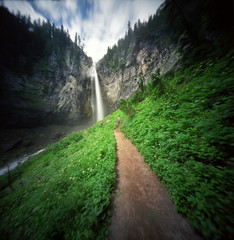 In the quiet and in the crowd (Zeb Andrews) Tags: realitysosubtle6x6 pinhole lensless kodakektar100 cometfalls mtrainier washington landscape filmphotography mediumformat 6x6 waterfall mtrainiernationalpark hiking pacificnorthwest nature