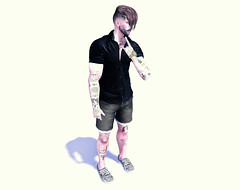 Hey babe, look at me now! (Millo Copperfield (Jamill Copperfield)) Tags: millocopperfield jamillcopperfield secondlife game simulator shorts jeans menswear spring summer black shirt sneakers dossier watch gold golden avatar style tori torricelli