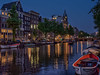 Amsterdam Blue Hour (Elenovela) Tags: amsterdam keizergracht bluehour availablelight blauestunde restlicht twilight panasonicgh5 city gracht water wasser gebäude buildings boat boot stadt himmel sky