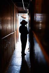 Yuka-san in silhouette (Eric Flexyourhead) Tags: pontocho 先斗町 nakagyoku 中京区 kyoto 京都市 kansai 関西地方 japan 日本 portrait japanese woman girl cute kawaii かわいい silhouette hat light shadow alley passage passageway narrow sonyalphaa7 zeisssonnartfe55mmf18za zeiss 55mmf18